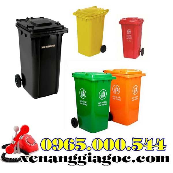 thùng rác công cộng 120 lít màu đỏ giá rẻ