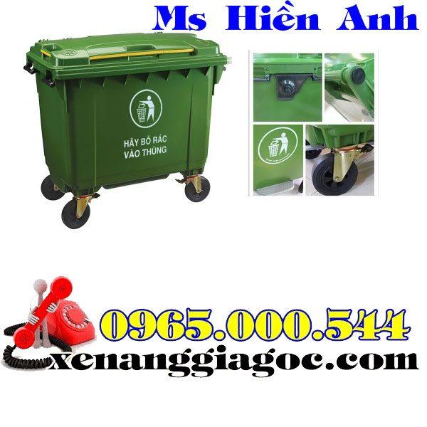 thùng rác nhựa 660 lít nhập khẩu