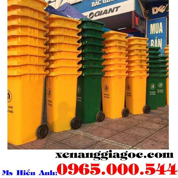 thùng rác công cộng 120 lít màu đỏ